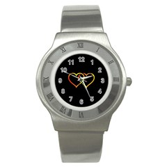 Heart Gold Black Background Love Stainless Steel Watch