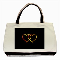 Heart Gold Black Background Love Basic Tote Bag by Nexatart