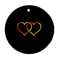 Heart Gold Black Background Love Round Ornament (two Sides) by Nexatart