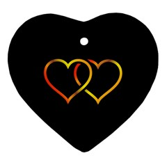 Heart Gold Black Background Love Heart Ornament (two Sides)