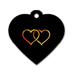 Heart Gold Black Background Love Dog Tag Heart (one Side)