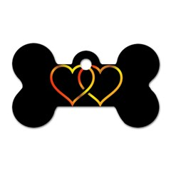 Heart Gold Black Background Love Dog Tag Bone (two Sides) by Nexatart