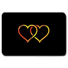 Heart Gold Black Background Love Large Doormat  by Nexatart