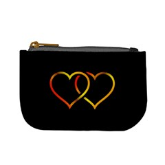 Heart Gold Black Background Love Mini Coin Purses