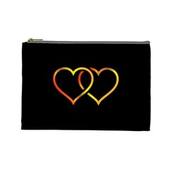 Heart Gold Black Background Love Cosmetic Bag (large)  by Nexatart