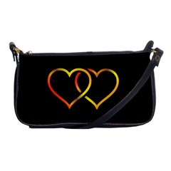 Heart Gold Black Background Love Shoulder Clutch Bags by Nexatart