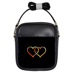Heart Gold Black Background Love Girls Sling Bags by Nexatart