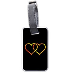 Heart Gold Black Background Love Luggage Tags (one Side)  by Nexatart