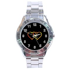 Heart Gold Black Background Love Stainless Steel Analogue Watch