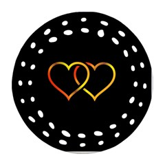 Heart Gold Black Background Love Round Filigree Ornament (two Sides) by Nexatart