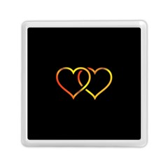 Heart Gold Black Background Love Memory Card Reader (square)  by Nexatart