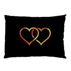 Heart Gold Black Background Love Pillow Case (two Sides) by Nexatart