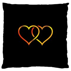 Heart Gold Black Background Love Large Cushion Case (two Sides)