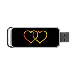 Heart Gold Black Background Love Portable Usb Flash (one Side) by Nexatart