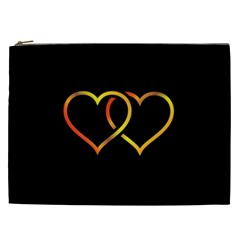Heart Gold Black Background Love Cosmetic Bag (xxl)