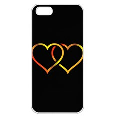 Heart Gold Black Background Love Apple Iphone 5 Seamless Case (white)
