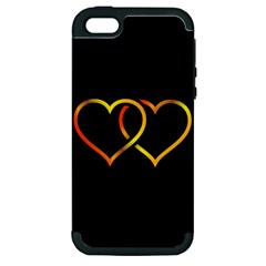 Heart Gold Black Background Love Apple Iphone 5 Hardshell Case (pc+silicone)