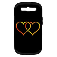 Heart Gold Black Background Love Samsung Galaxy S Iii Hardshell Case (pc+silicone)