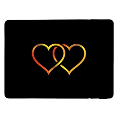 Heart Gold Black Background Love Samsung Galaxy Tab Pro 12 2  Flip Case by Nexatart