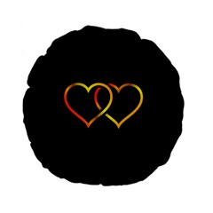 Heart Gold Black Background Love Standard 15  Premium Flano Round Cushions