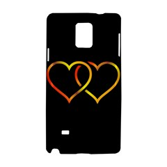 Heart Gold Black Background Love Samsung Galaxy Note 4 Hardshell Case by Nexatart