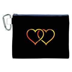 Heart Gold Black Background Love Canvas Cosmetic Bag (xxl) by Nexatart