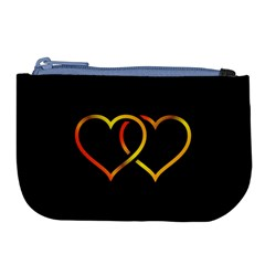 Heart Gold Black Background Love Large Coin Purse by Nexatart