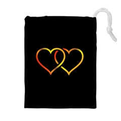 Heart Gold Black Background Love Drawstring Pouches (extra Large)