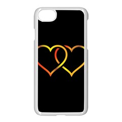 Heart Gold Black Background Love Apple Iphone 7 Seamless Case (white)