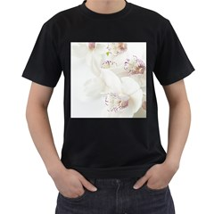 Orchids Flowers White Background Men s T Shirt (black) (two Sided)