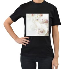 Orchids Flowers White Background Women s T Shirt (black) (two Sided)