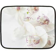 Orchids Flowers White Background Double Sided Fleece Blanket (mini)