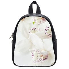 Orchids Flowers White Background School Bags (small)