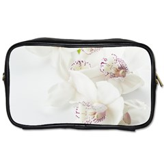 Orchids Flowers White Background Toiletries Bags by Nexatart