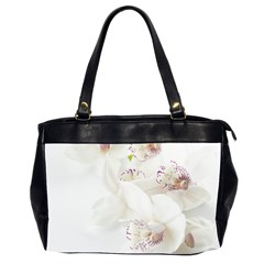 Orchids Flowers White Background Office Handbags (2 Sides)  by Nexatart