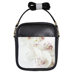 Orchids Flowers White Background Girls Sling Bags by Nexatart