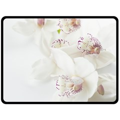 Orchids Flowers White Background Fleece Blanket (large)  by Nexatart
