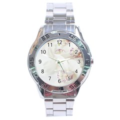 Orchids Flowers White Background Stainless Steel Analogue Watch by Nexatart