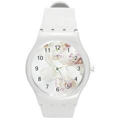 Orchids Flowers White Background Round Plastic Sport Watch (m) by Nexatart