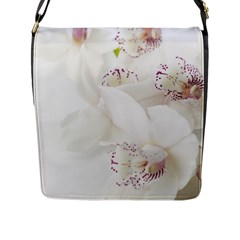 Orchids Flowers White Background Flap Messenger Bag (l)  by Nexatart