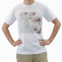 Orchids Flowers White Background Men s T Shirt (white)