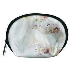 Orchids Flowers White Background Accessory Pouches (medium)