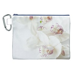 Orchids Flowers White Background Canvas Cosmetic Bag (xxl) by Nexatart