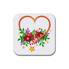 Heart Flowers Sign Rubber Square Coaster (4 Pack)  by Nexatart