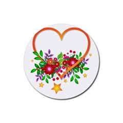 Heart Flowers Sign Rubber Coaster (round)