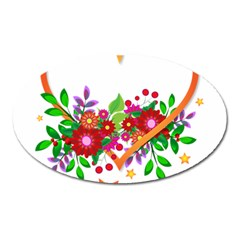 Heart Flowers Sign Oval Magnet