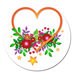 Heart Flowers Sign Magnet 5  (round)