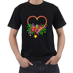 Heart Flowers Sign Men s T Shirt (black) (two Sided)