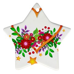 Heart Flowers Sign Star Ornament (two Sides)