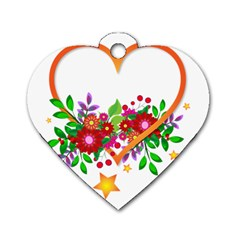 Heart Flowers Sign Dog Tag Heart (one Side) by Nexatart